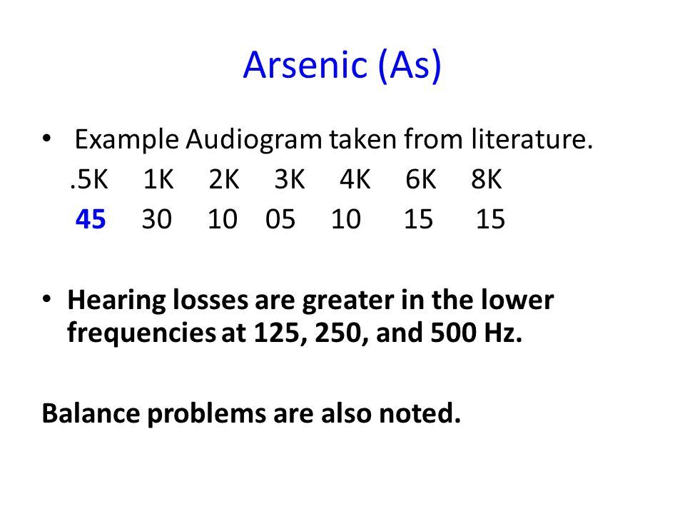 Arsenic (As) Example Audiogram taken from literature..5K 1K 2K 3K 4K 6K 8K 45 30 10 05 10 15 15 Hearing losses are greater in the lower frequencies at 125, 250, and 500 Hz.