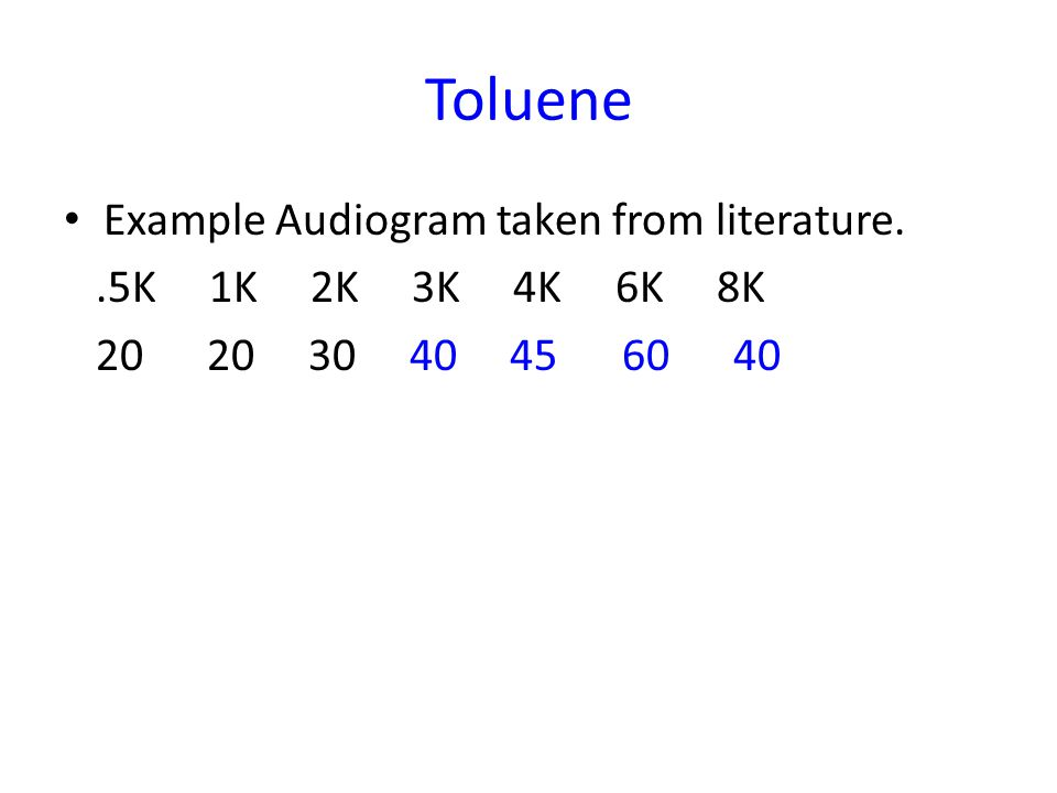 Toluene Example Audiogram taken from literature..5K 1K 2K 3K 4K 6K 8K 20 20 30 40 45 60 40