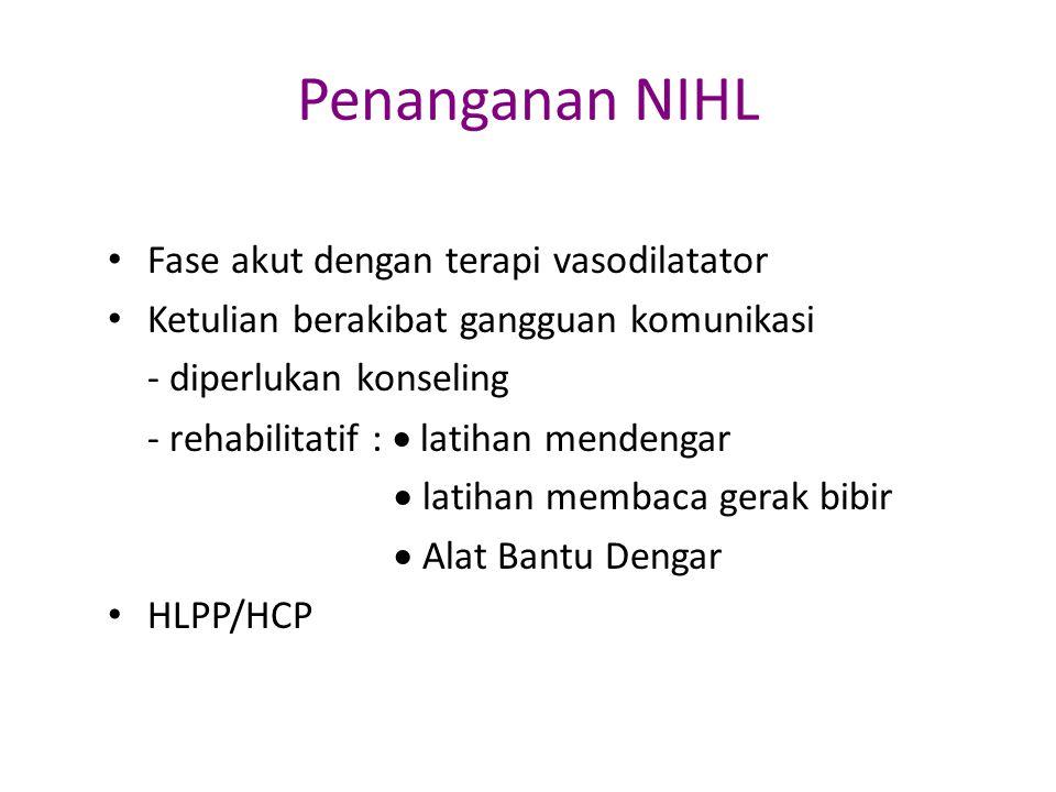 Penanganan NIHL Fase akut dengan terapi vasodilatator Ketulian berakibat gangguan komunikasi - diperlukan konseling - rehabilitatif :  latihan menden