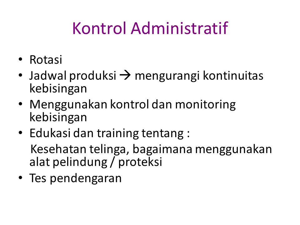 Kontrol Administratif Rotasi Jadwal produksi  mengurangi kontinuitas kebisingan Menggunakan kontrol dan monitoring kebisingan Edukasi dan training te