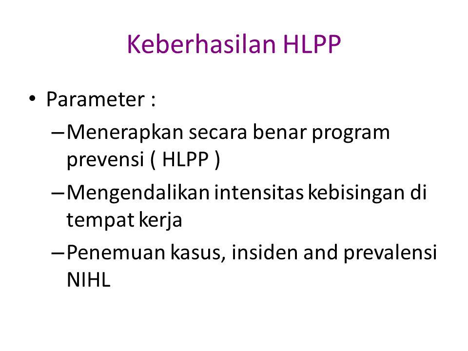 Keberhasilan HLPP Parameter : – Menerapkan secara benar program prevensi ( HLPP ) – Mengendalikan intensitas kebisingan di tempat kerja – Penemuan kas
