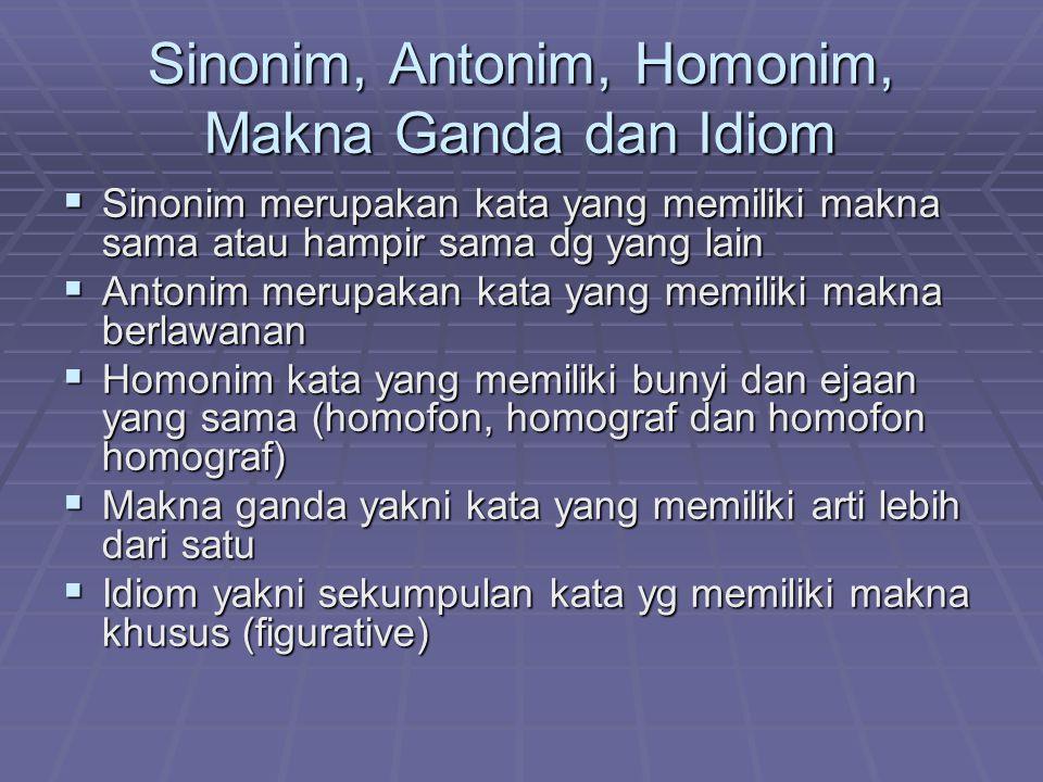 Sinonim, Antonim, Homonim, Makna Ganda dan Idiom SSSSinonim merupakan kata yang memiliki makna sama atau hampir sama dg yang lain AAAAntonim merupakan kata yang memiliki makna berlawanan HHHHomonim kata yang memiliki bunyi dan ejaan yang sama (homofon, homograf dan homofon homograf) MMMMakna ganda yakni kata yang memiliki arti lebih dari satu IIIIdiom yakni sekumpulan kata yg memiliki makna khusus (figurative)