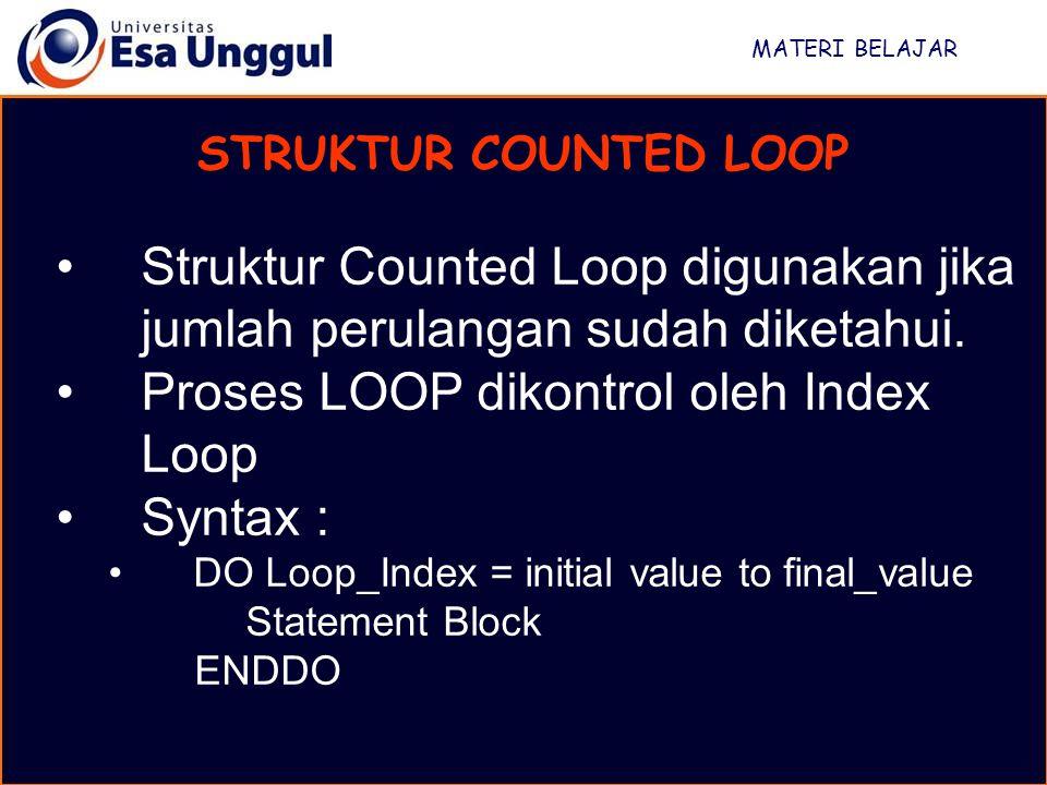 MATERI BELAJAR STRUKTUR COUNTED LOOP Struktur Counted Loop digunakan jika jumlah perulangan sudah diketahui. Proses LOOP dikontrol oleh Index Loop Syn