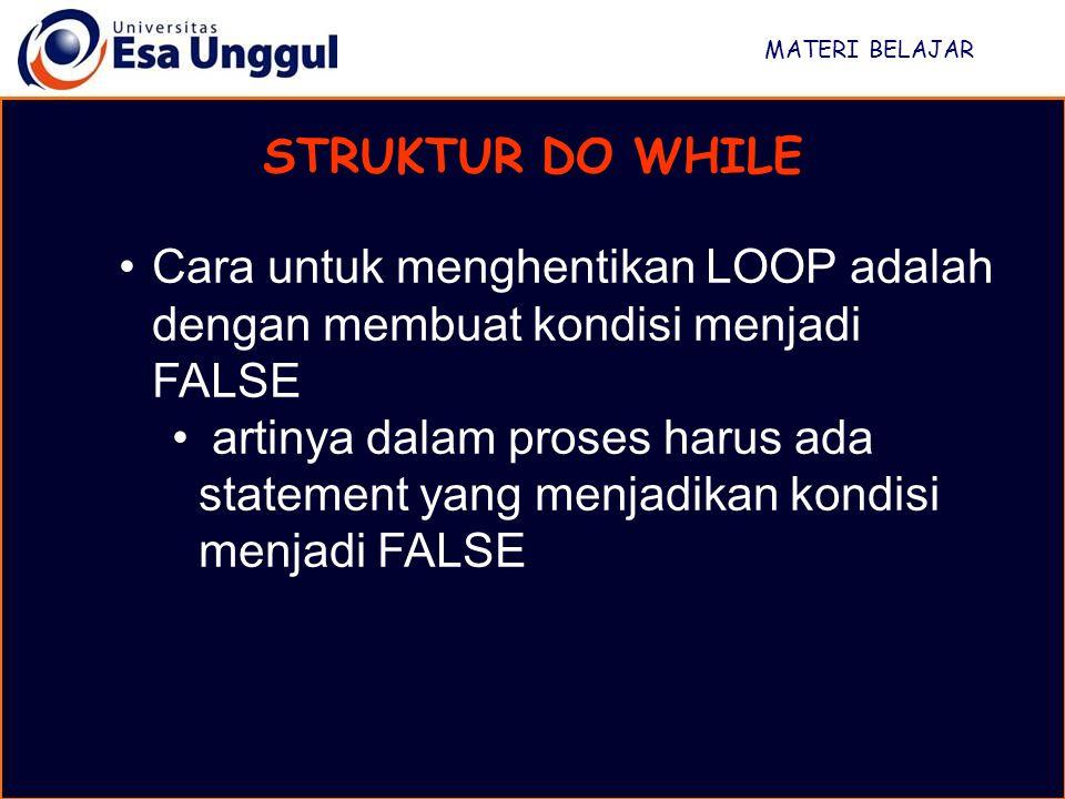 MATERI BELAJAR STRUKTUR DO WHILE Cara untuk menghentikan LOOP adalah dengan membuat kondisi menjadi FALSE artinya dalam proses harus ada statement yang menjadikan kondisi menjadi FALSE