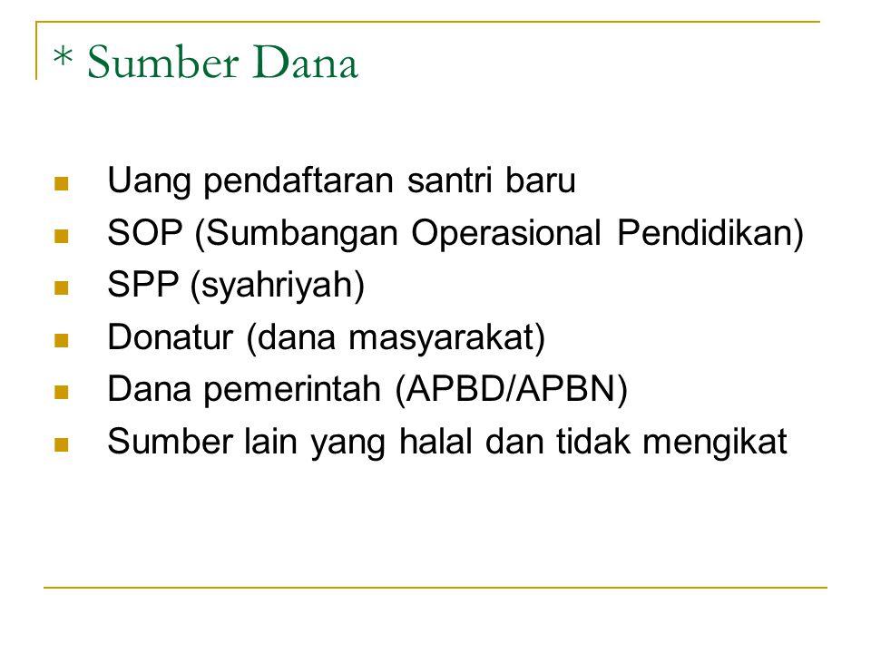 * Sumber Dana Uang pendaftaran santri baru SOP (Sumbangan Operasional Pendidikan) SPP (syahriyah) Donatur (dana masyarakat) Dana pemerintah (APBD/APBN