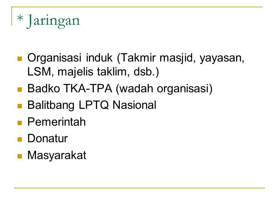 * Jaringan Organisasi induk (Takmir masjid, yayasan, LSM, majelis taklim, dsb.) Badko TKA-TPA (wadah organisasi) Balitbang LPTQ Nasional Pemerintah Do