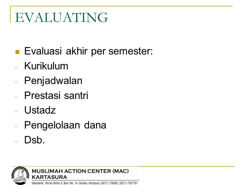 EVALUATING Evaluasi akhir per semester: - Kurikulum - Penjadwalan - Prestasi santri - Ustadz - Pengelolaan dana - Dsb.