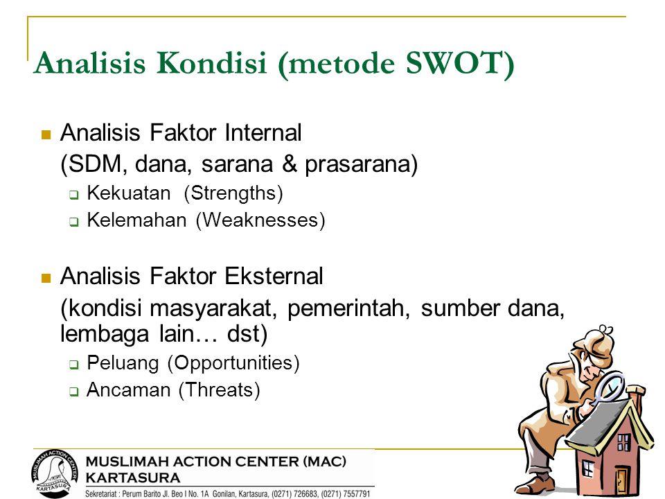 Analisis Kondisi (metode SWOT) Analisis Faktor Internal (SDM, dana, sarana & prasarana)  Kekuatan (Strengths)  Kelemahan (Weaknesses) Analisis Fakto