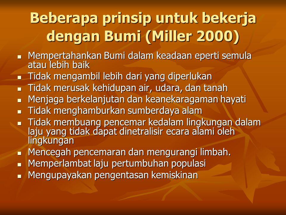 Beberapa prinsip untuk bekerja dengan Bumi (Miller 2000) Mempertahankan Bumi dalam keadaan eperti semula atau lebih baik Mempertahankan Bumi dalam kea