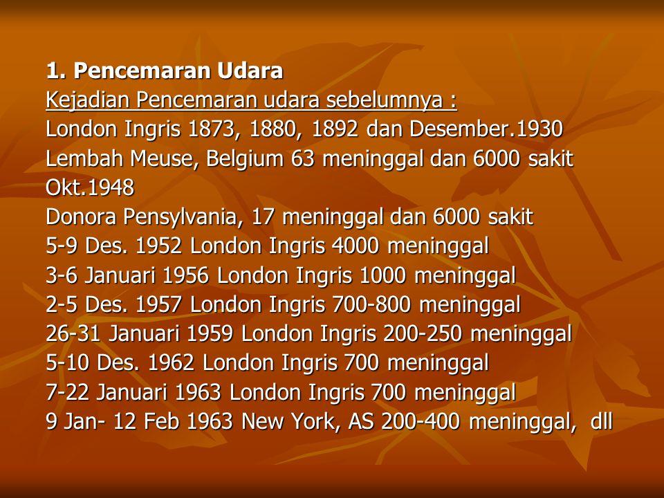 1. Pencemaran Udara Kejadian Pencemaran udara sebelumnya : London Ingris 1873, 1880, 1892 dan Desember.1930 Lembah Meuse, Belgium 63 meninggal dan 600