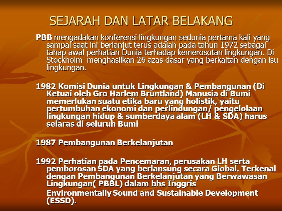 Konsep PBBL LH/SDA  Pengelolaan LH/SDA  Pelestarian LH/SDA  Pencegahan Pencemaran & perusakan LH/SDA Ekonomi -Pertumbuhan -Pemerataan -Eko-efisiensi -Stabilitas Sosial Budaya  Pengentasan kemiskinan  Pemberdayaan Masyarakat  Peran serta masyarakat  Pembinaan kelembagaan