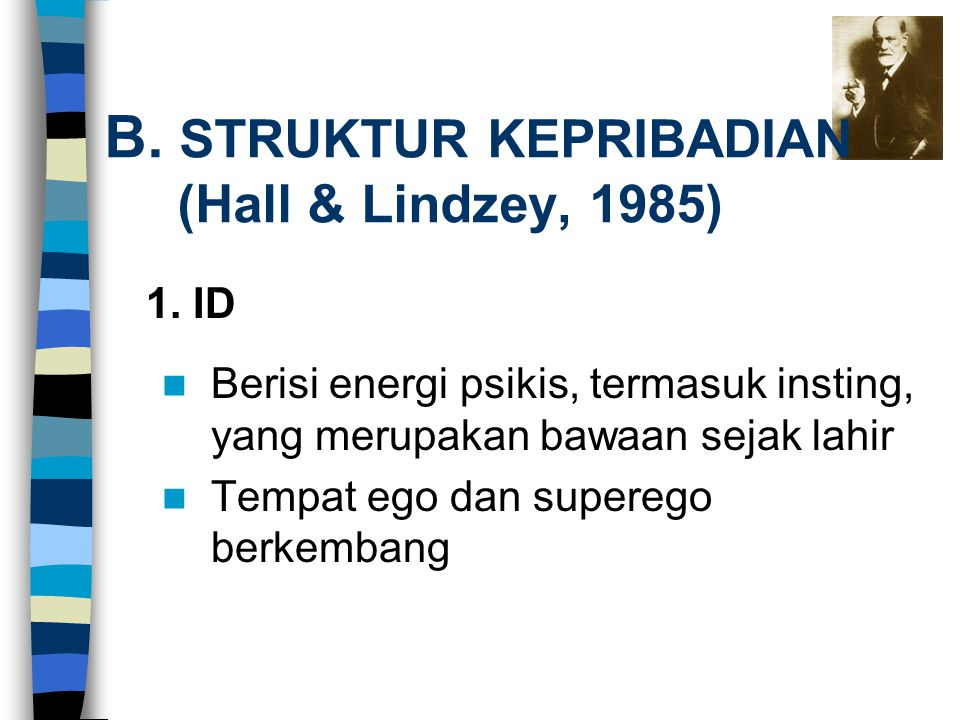 B. STRUKTUR KEPRIBADIAN (Hall & Lindzey, 1985) Berisi energi psikis, termasuk insting, yang merupakan bawaan sejak lahir Tempat ego dan superego berke