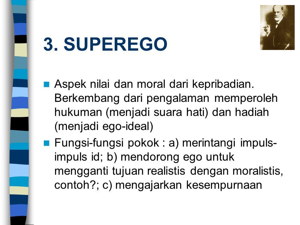 3. SUPEREGO Aspek nilai dan moral dari kepribadian. Berkembang dari pengalaman memperoleh hukuman (menjadi suara hati) dan hadiah (menjadi ego-ideal)