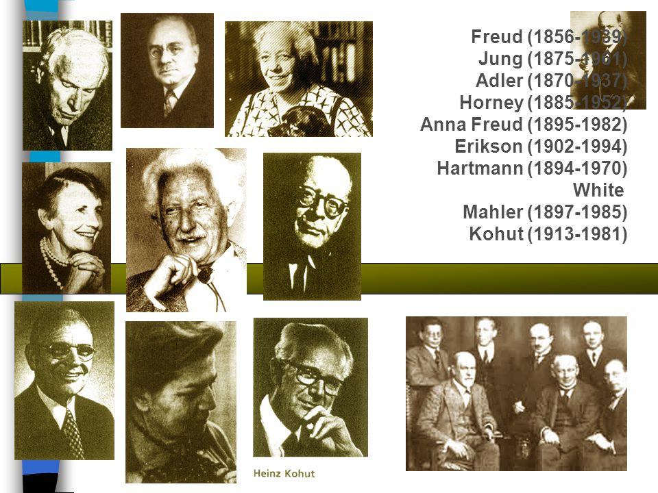 Freud (1856-1939) Jung (1875-1961) Adler (1870-1937) Horney (1885-1952) Anna Freud (1895-1982) Erikson (1902-1994) Hartmann (1894-1970) White Mahler (