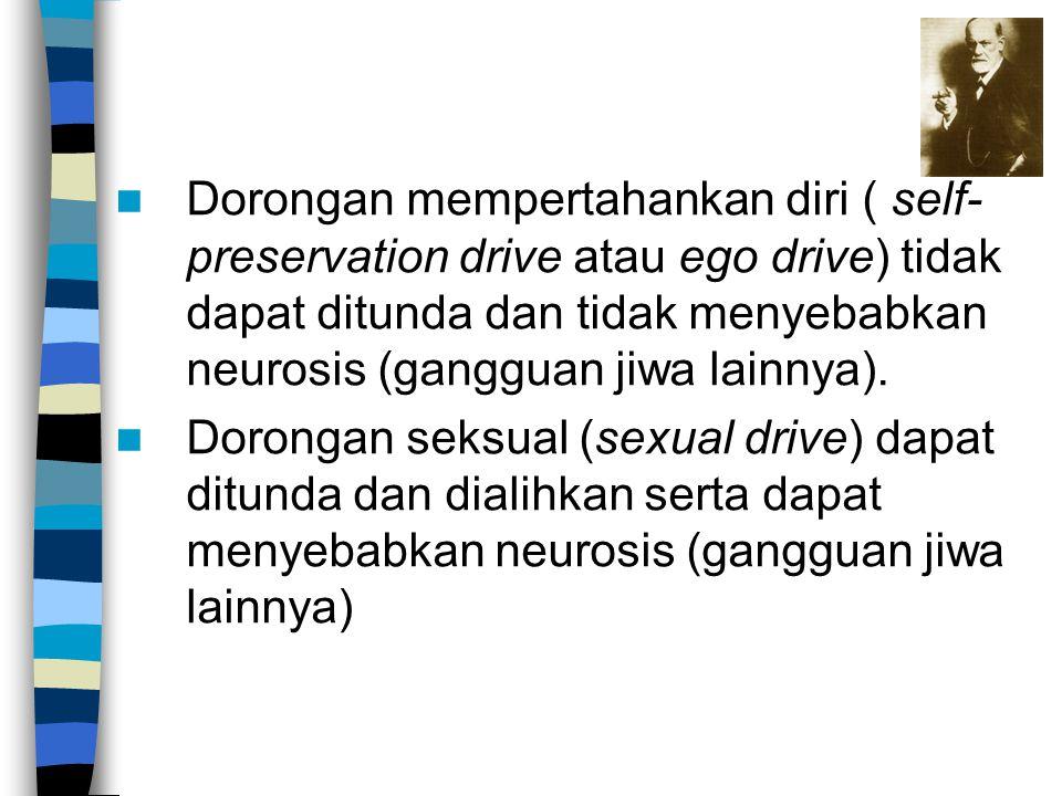 Dorongan mempertahankan diri ( self- preservation drive atau ego drive) tidak dapat ditunda dan tidak menyebabkan neurosis (gangguan jiwa lainnya). Do