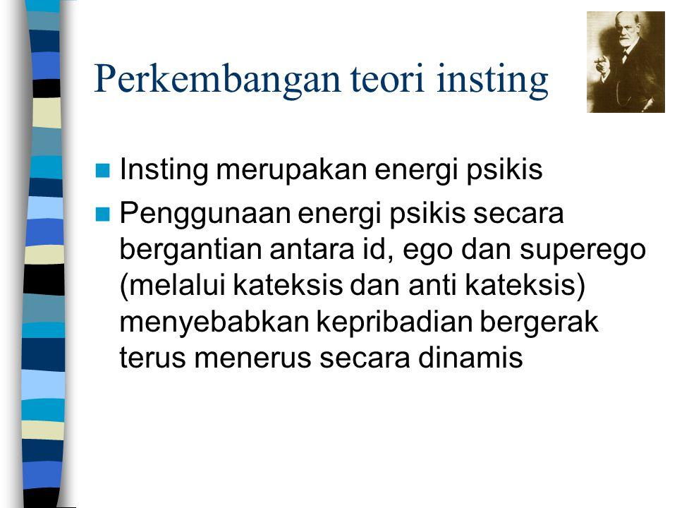 Perkembangan teori insting Insting merupakan energi psikis Penggunaan energi psikis secara bergantian antara id, ego dan superego (melalui kateksis da