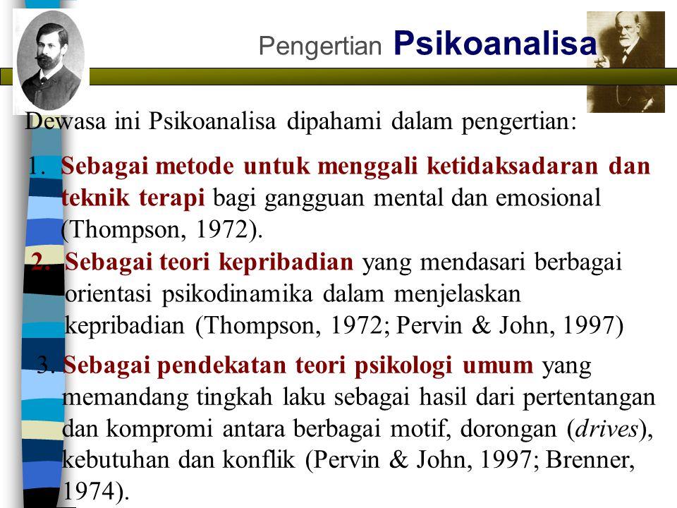 Pengertian Psikoanalisa Dewasa ini Psikoanalisa dipahami dalam pengertian: 1. Sebagai metode untuk menggali ketidaksadaran dan teknik terapi bagi gang