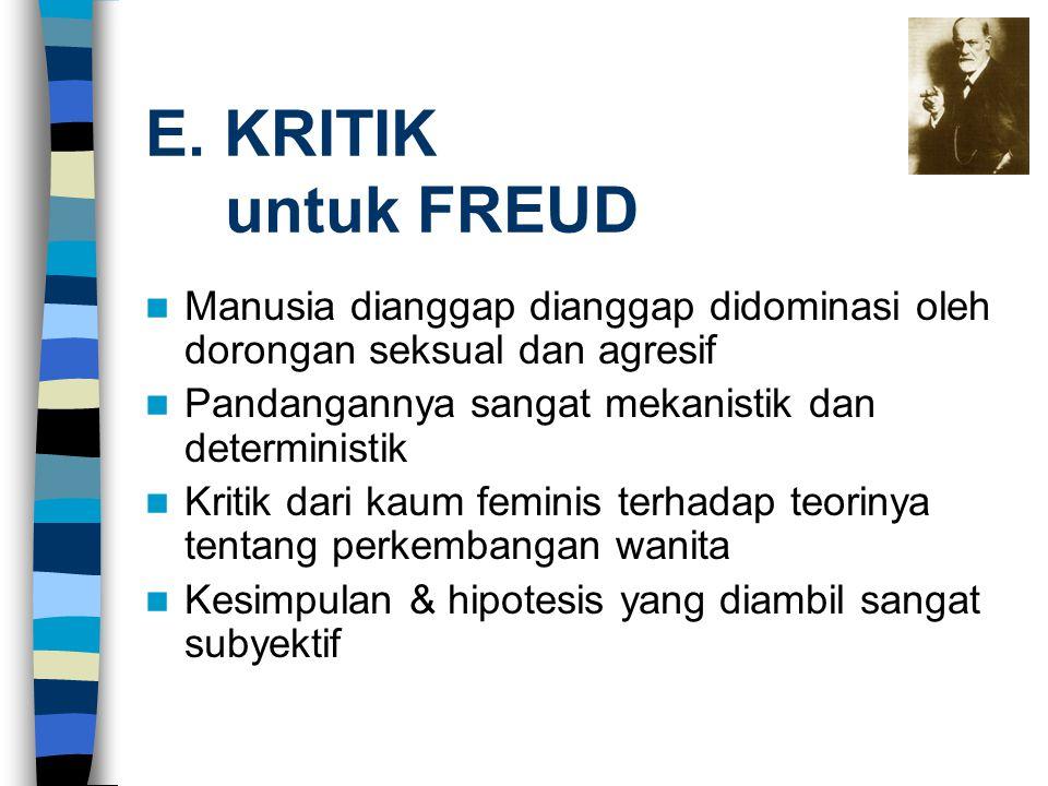 E. KRITIK untuk FREUD Manusia dianggap dianggap didominasi oleh dorongan seksual dan agresif Pandangannya sangat mekanistik dan deterministik Kritik d