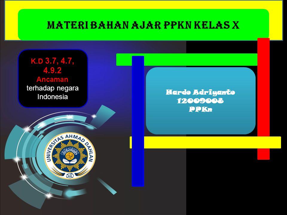 Materi Bahan Ajar PPKn Kelas X MENU By: hardo Materi Bahan Ajar PPKn Kelas X Hardo Adriyanto 12009008 PPKn K.D 3.7, 4.7, 4.9.2 Ancaman terhadap negara