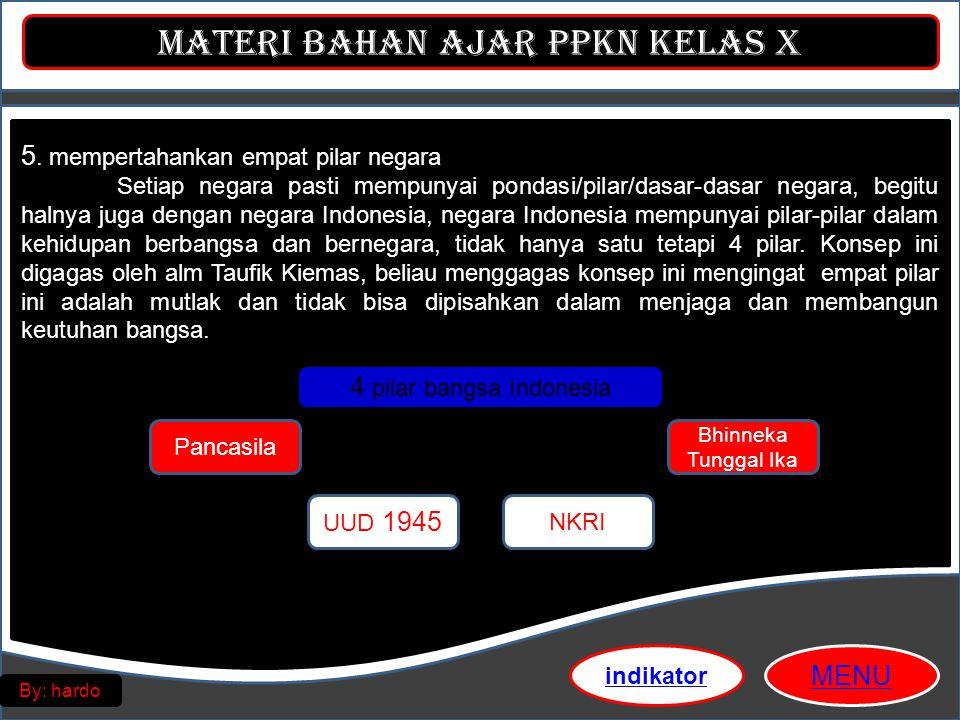 Materi Bahan Ajar PPKn Kelas X MENU By: hardo 5. mempertahankan empat pilar negara Setiap negara pasti mempunyai pondasi/pilar/dasar-dasar negara, beg