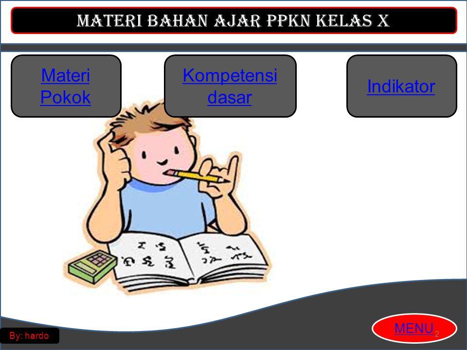 Materi Bahan Ajar PPKn Kelas X MENU By: hardo Materi Pokok Ancaman Terhadap Negara