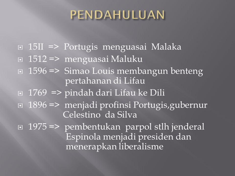  15II => Portugis menguasai Malaka  1512 => menguasai Maluku  1596 => Simao Louis membangun benteng pertahanan di Lifau  1769 => pindah dari Lifau ke Dili  1896 => menjadi profinsi Portugis,gubernur Celestino da Silva  1975 => pembentukan parpol stlh jenderal Espinola menjadi presiden dan menerapkan liberalisme