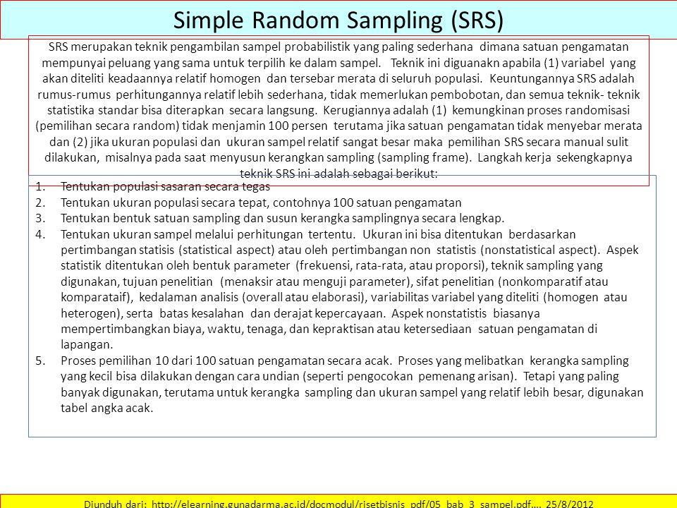 Simple Random Sampling (SRS) Diunduh dari: http://elearning.gunadarma.ac.id/docmodul/risetbisnis_pdf/05_bab_3_sampel.pdf…. 25/8/2012 SRS merupakan tek