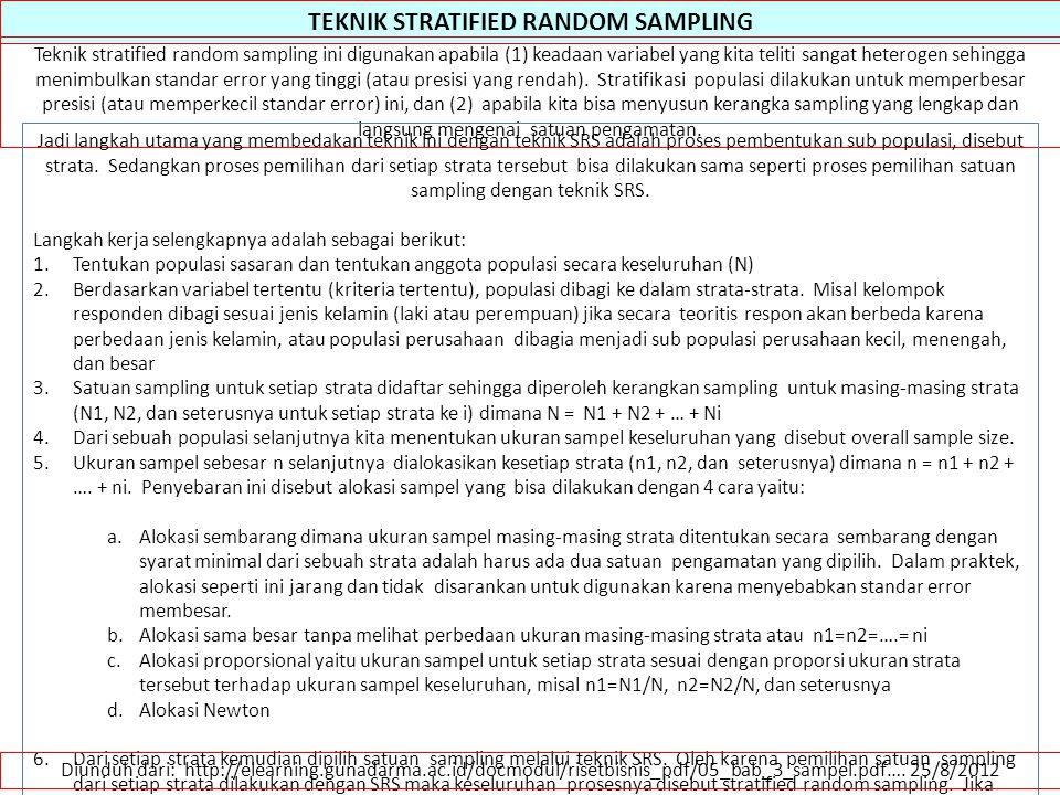 TEKNIK STRATIFIED RANDOM SAMPLING Teknik stratified random sampling ini digunakan apabila (1) keadaan variabel yang kita teliti sangat heterogen sehin