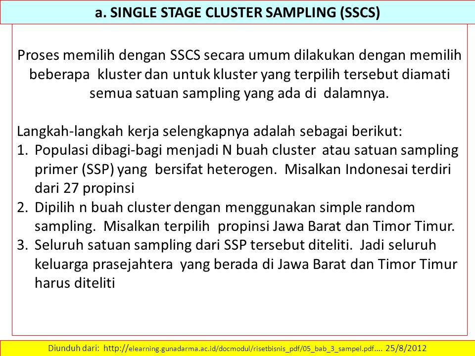 a. SINGLE STAGE CLUSTER SAMPLING (SSCS) Diunduh dari: http:// elearning.gunadarma.ac.id/docmodul/risetbisnis_pdf/05_bab_3_sampel.pdf …. 25/8/2012 Pros
