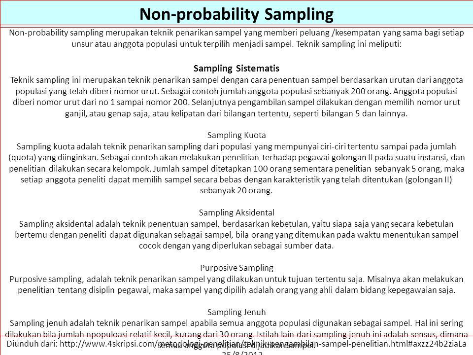 Non-probability Sampling Diunduh dari: http://www.4skripsi.com/metodologi-penelitian/teknik-pengambilan-sampel-penelitian.html#axzz24b2ziaLa …. 25/8/2