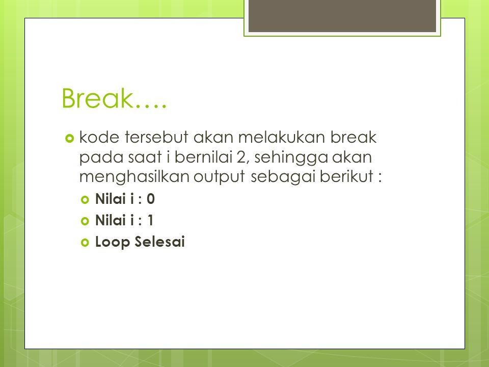 Break….