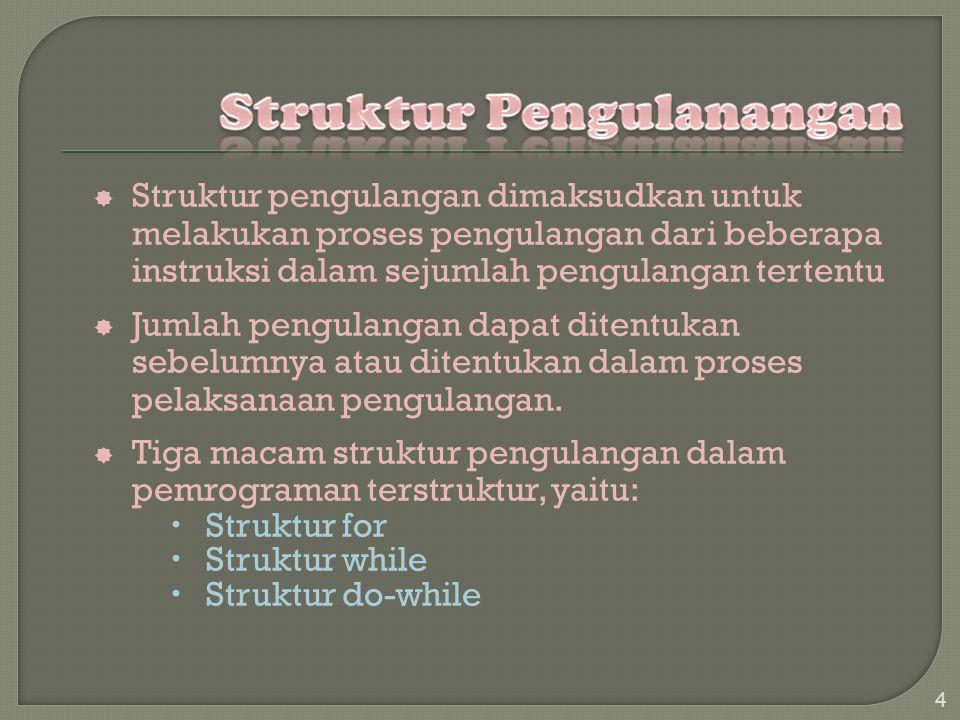  Struktur pengulangan dimaksudkan untuk melakukan proses pengulangan dari beberapa instruksi dalam sejumlah pengulangan tertentu  Jumlah pengulangan dapat ditentukan sebelumnya atau ditentukan dalam proses pelaksanaan pengulangan.