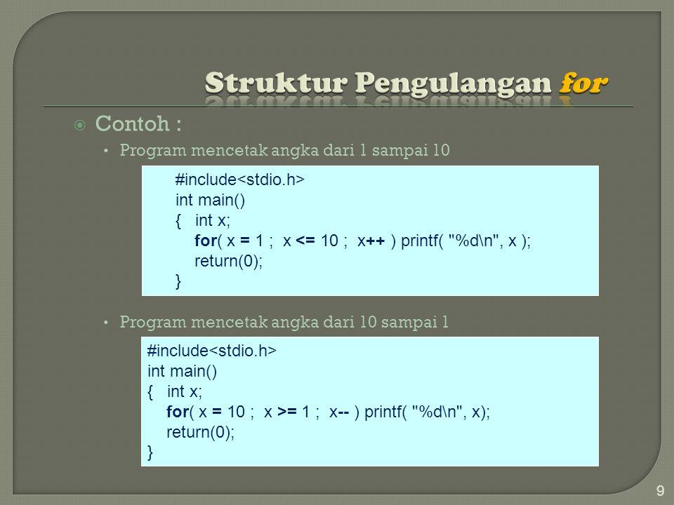  Contoh : Program mencetak angka dari 1 sampai 10 Program mencetak angka dari 10 sampai 1 9 #include int main() { int x; for( x = 1 ; x <= 10 ; x++ ) printf( %d\n , x ); return(0); } #include int main() { int x; for( x = 10 ; x >= 1 ; x-- ) printf( %d\n , x); return(0); }