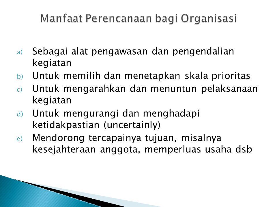 a) Sebagai alat pengawasan dan pengendalian kegiatan b) Untuk memilih dan menetapkan skala prioritas c) Untuk mengarahkan dan menuntun pelaksanaan keg