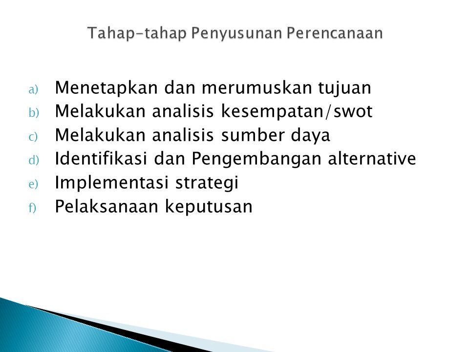 a) Menetapkan dan merumuskan tujuan b) Melakukan analisis kesempatan/swot c) Melakukan analisis sumber daya d) Identifikasi dan Pengembangan alternati
