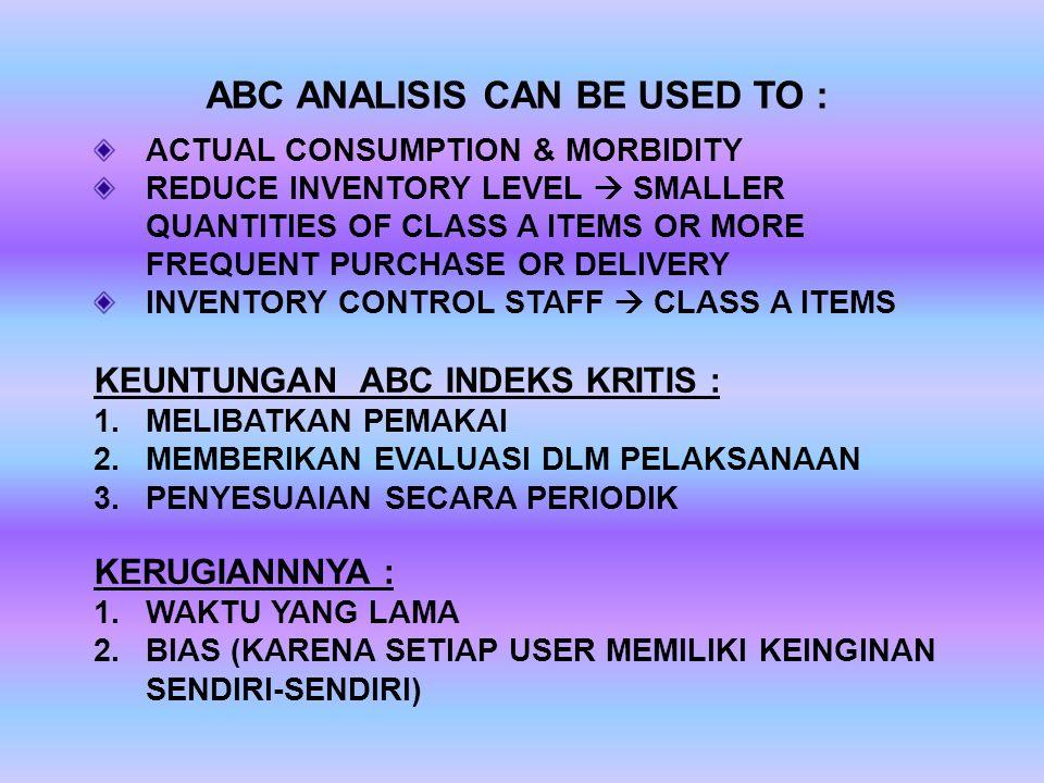 ABC ANALISIS CAN BE USED TO : ACTUAL CONSUMPTION & MORBIDITY REDUCE INVENTORY LEVEL  SMALLER QUANTITIES OF CLASS A ITEMS OR MORE FREQUENT PURCHASE OR DELIVERY INVENTORY CONTROL STAFF  CLASS A ITEMS KEUNTUNGAN ABC INDEKS KRITIS : 1.MELIBATKAN PEMAKAI 2.MEMBERIKAN EVALUASI DLM PELAKSANAAN 3.PENYESUAIAN SECARA PERIODIK KERUGIANNNYA : 1.WAKTU YANG LAMA 2.BIAS (KARENA SETIAP USER MEMILIKI KEINGINAN SENDIRI-SENDIRI)