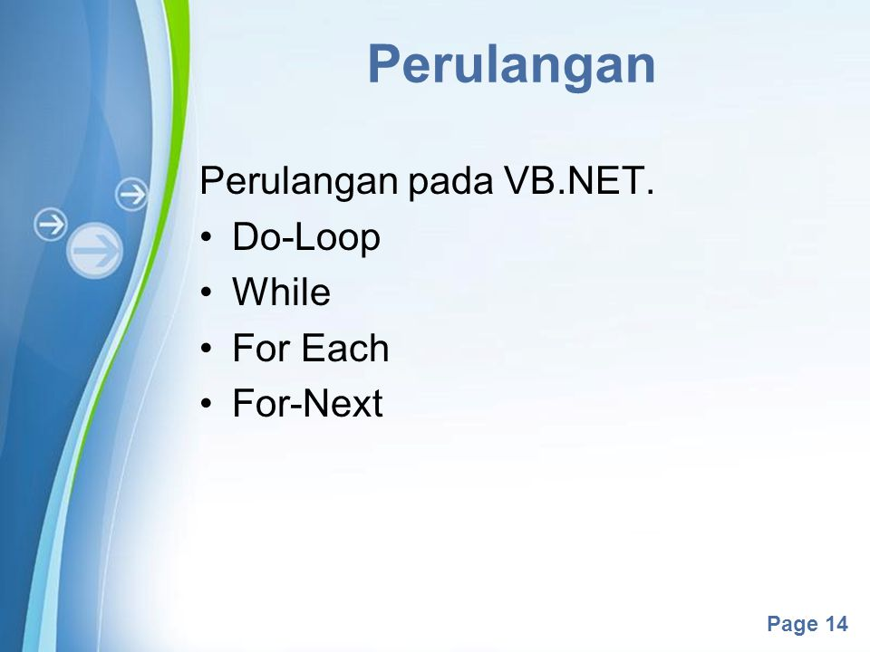 Powerpoint Templates Page 14 Perulangan Perulangan pada VB.NET. Do-Loop While For Each For-Next