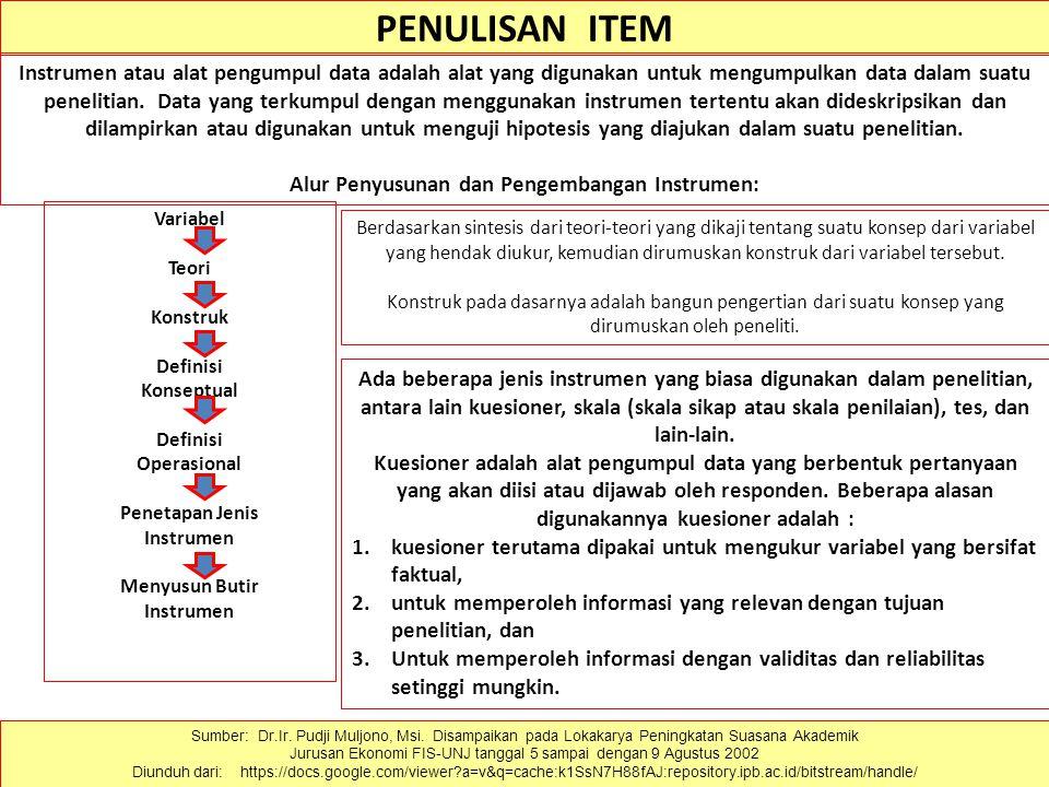 PENULISAN ITEM Sumber: Dr.Ir. Pudji Muljono, Msi.
