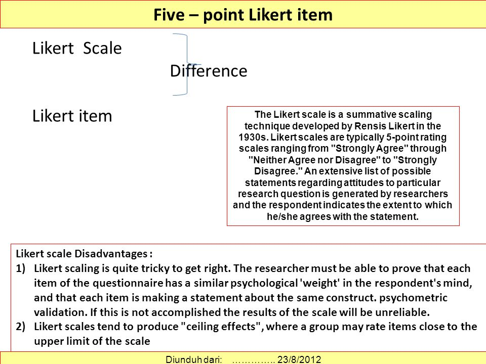Likert Scales: Advantages (summated rating = real name) Rensis Likert, 1903–1981 Easy for respondents to complete, most people familiar with the scale Relatively easy to construct Most popular attitudinal measure Easy to score and analyze Each item considered to be of equal attitude value (weight) -- homogeneous items Diunduh dari: http://www.emeraldinsight.com/journals.htm?articleid=1800605…………..