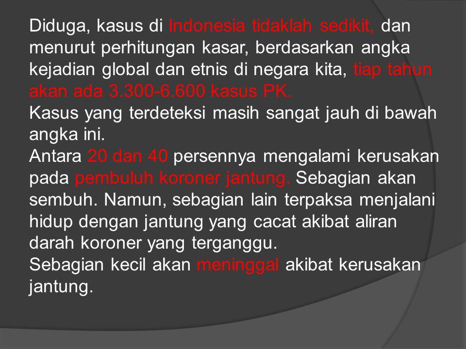 Diduga, kasus di Indonesia tidaklah sedikit, dan menurut perhitungan kasar, berdasarkan angka kejadian global dan etnis di negara kita, tiap tahun akan ada 3.300-6.600 kasus PK.