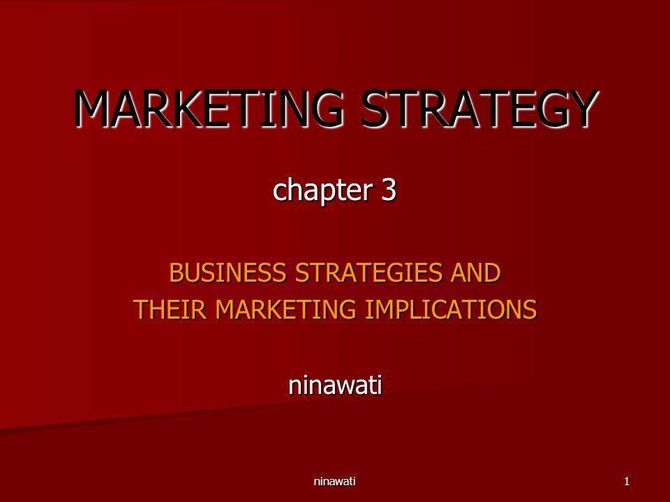 ninawati1 MARKETING STRATEGY chapter 3 BUSINESS STRATEGIES AND THEIR MARKETING IMPLICATIONS ninawati