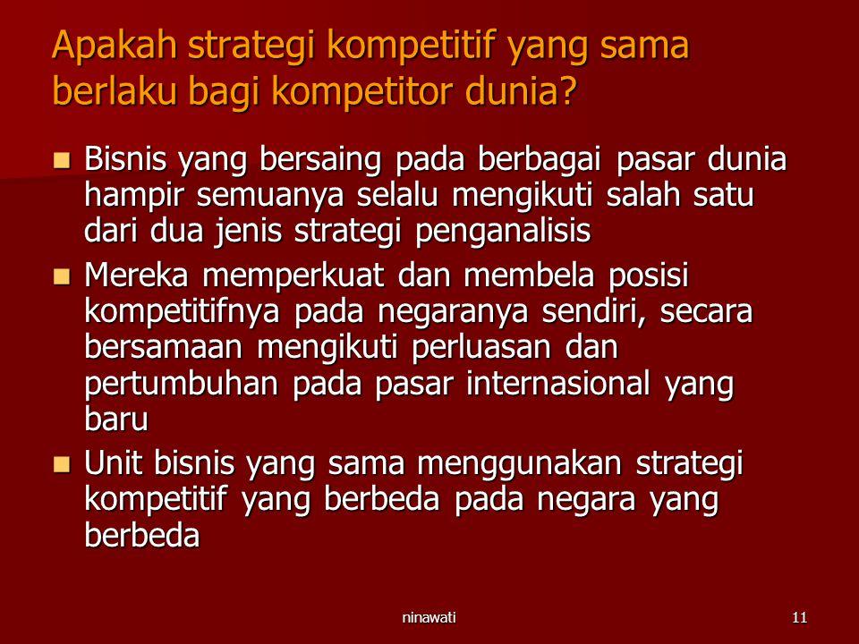 ninawati11 Apakah strategi kompetitif yang sama berlaku bagi kompetitor dunia? Bisnis yang bersaing pada berbagai pasar dunia hampir semuanya selalu m