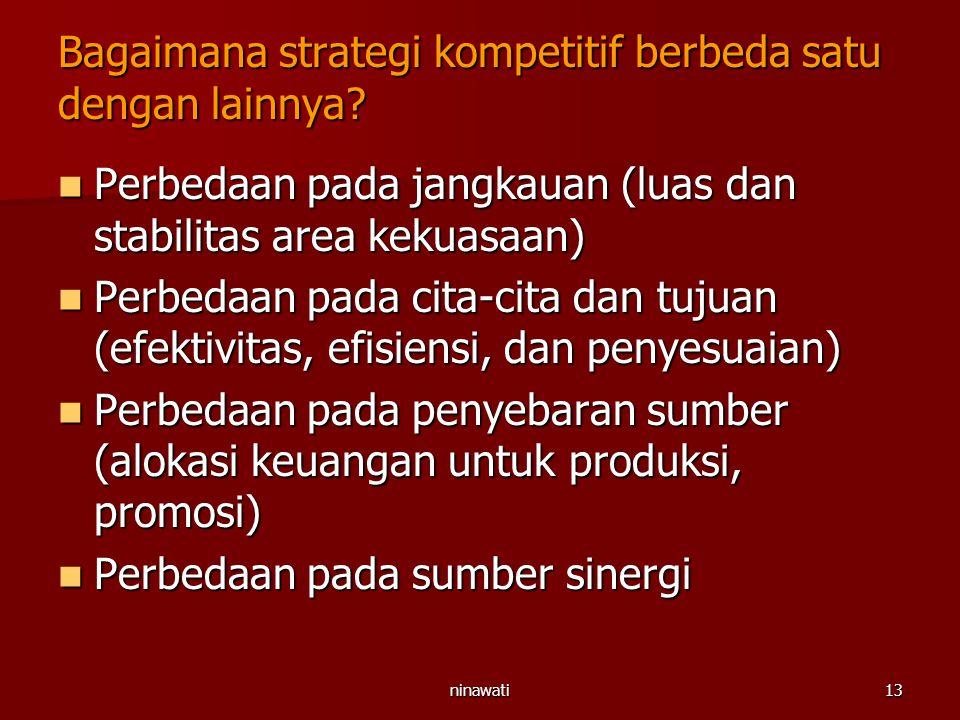 ninawati13 Bagaimana strategi kompetitif berbeda satu dengan lainnya? Perbedaan pada jangkauan (luas dan stabilitas area kekuasaan) Perbedaan pada jan