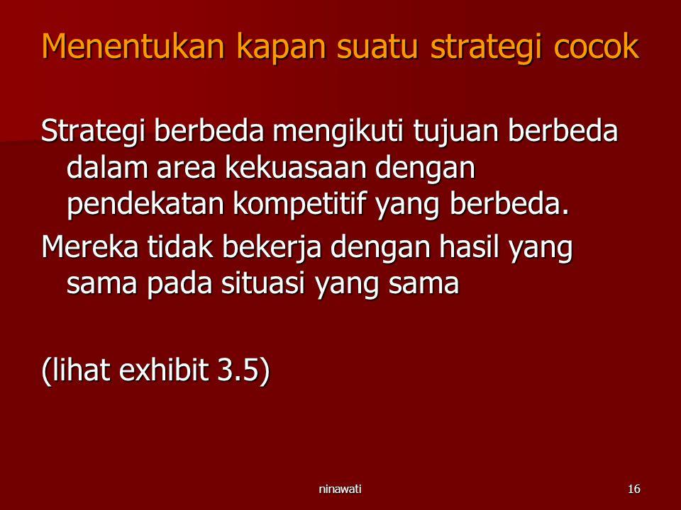 ninawati16 Menentukan kapan suatu strategi cocok Strategi berbeda mengikuti tujuan berbeda dalam area kekuasaan dengan pendekatan kompetitif yang berb