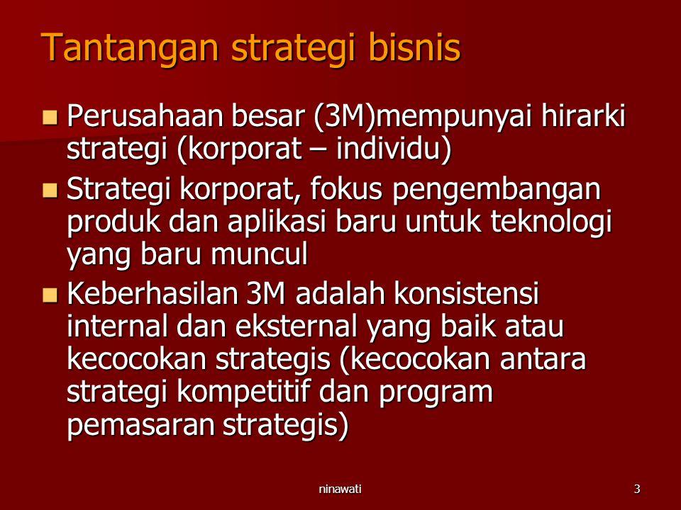 ninawati3 Tantangan strategi bisnis Perusahaan besar (3M)mempunyai hirarki strategi (korporat – individu) Perusahaan besar (3M)mempunyai hirarki strat