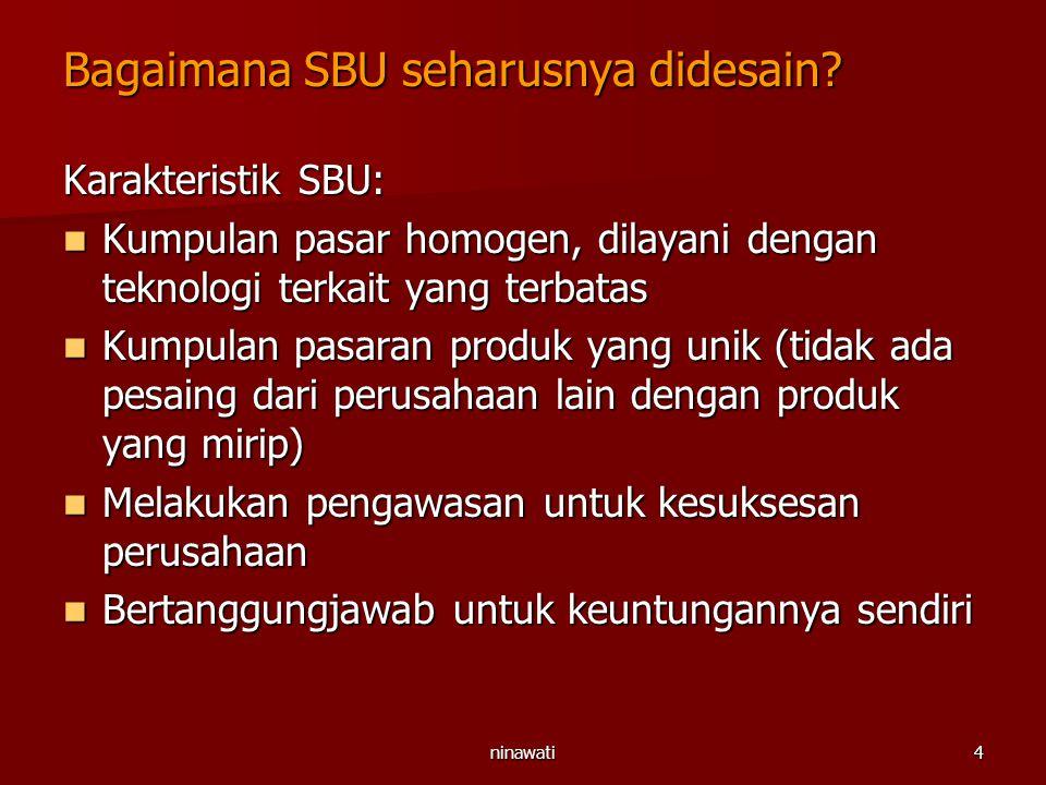 ninawati4 Bagaimana SBU seharusnya didesain? Karakteristik SBU: Kumpulan pasar homogen, dilayani dengan teknologi terkait yang terbatas Kumpulan pasar