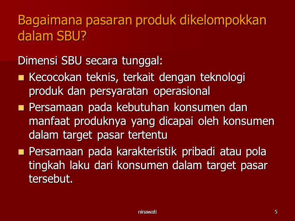 ninawati5 Bagaimana pasaran produk dikelompokkan dalam SBU? Dimensi SBU secara tunggal: Kecocokan teknis, terkait dengan teknologi produk dan persyara
