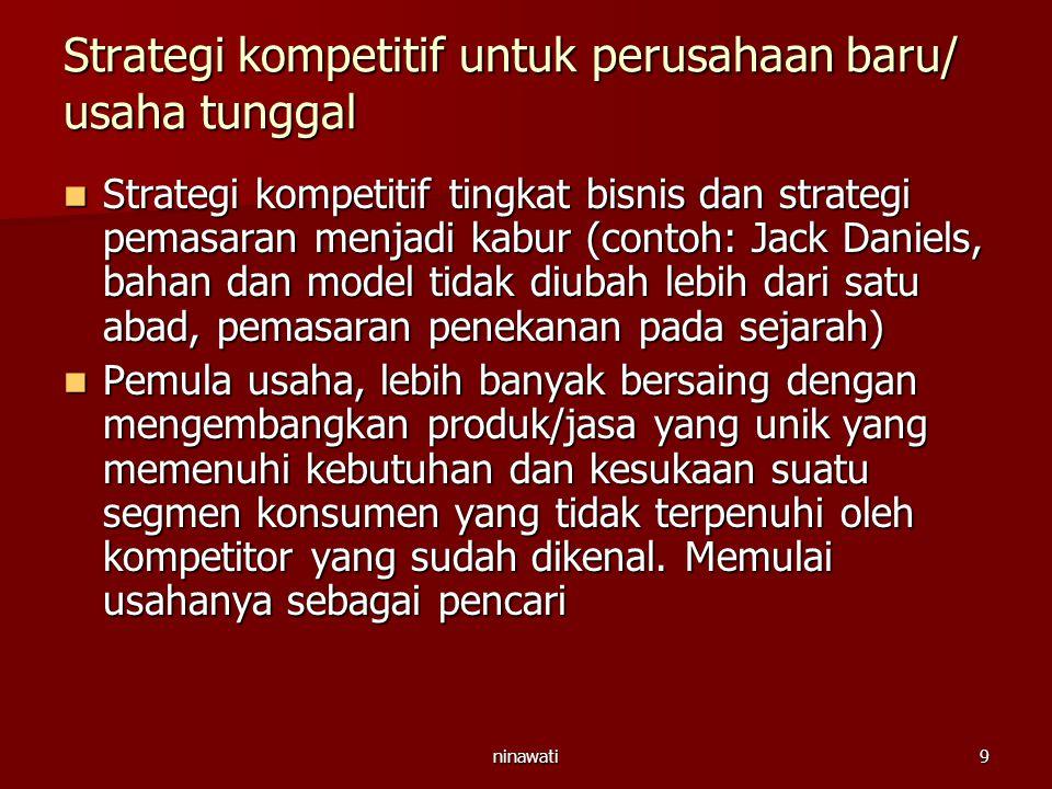 ninawati9 Strategi kompetitif untuk perusahaan baru/ usaha tunggal Strategi kompetitif tingkat bisnis dan strategi pemasaran menjadi kabur (contoh: Ja