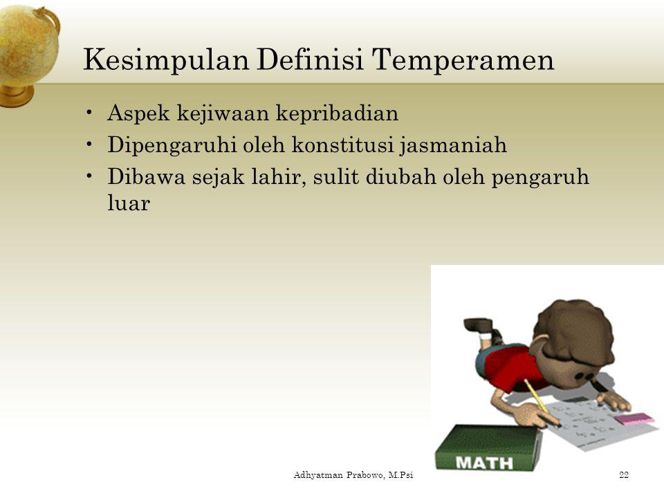 Definisi Temperamen Galenus : Sifat kejiwaan yang ditentukan oleh campuran (komposisi) cairan-cairan dalam tubuh Kretschmer : Bagian dari kejiwaan yan