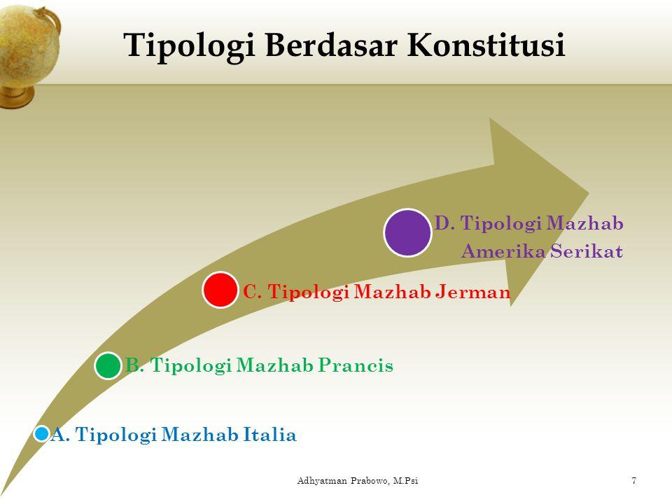 a. Tipologi berdasar konstitusi b. Tipologi berdasar temperamen c. Tipologi berdasar nilai budaya Jenis-jenis Tipologis : 6Adhyatman Prabowo, M.Psi